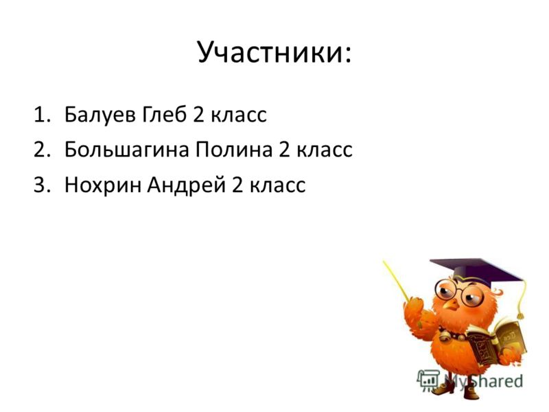 Участники: 1.Балуев Глеб 2 класс 2.Большагина Полина 2 класс 3.Нохрин Андрей 2 класс