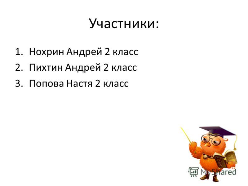 Участники: 1.Нохрин Андрей 2 класс 2.Пихтин Андрей 2 класс 3.Попова Настя 2 класс
