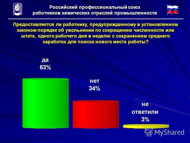 Российский профессиональный союз работников химических отраслей промышленности Предоставляется ли работнику, предупрежденному в установленном законом порядке об увольнении по сокращению численности или штата, одного рабочего дня в неделю с сохранение