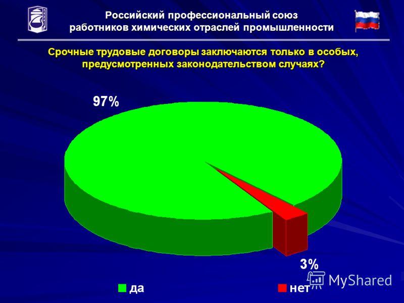 Российский профессиональный союз работников химических отраслей промышленности Срочные трудовые договоры заключаются только в особых, предусмотренных законодательством случаях?