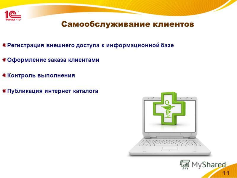 11 Самообслуживание клиентов Регистрация внешнего доступа к информационной базе Оформление заказа клиентами Контроль выполнения Публикация интернет каталога