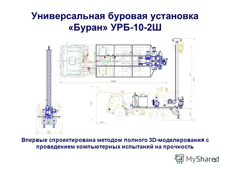 2 Универсальная буровая установка «Буран» УРБ-10-2Ш Впервые спроектирована методом полного 3D-моделирования с проведением компьютерных испытаний на прочность