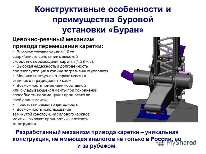 5 Конструктивные особенности и преимущества буровой установки «Буран» Цевочно-реечный механизм привода перемещения каретки: Высокое тяговое усилие (10 тс вверх/вниз) в сочетании с высокой скоростью перемещения каретки (1,28 м/с); Высокая надежность и