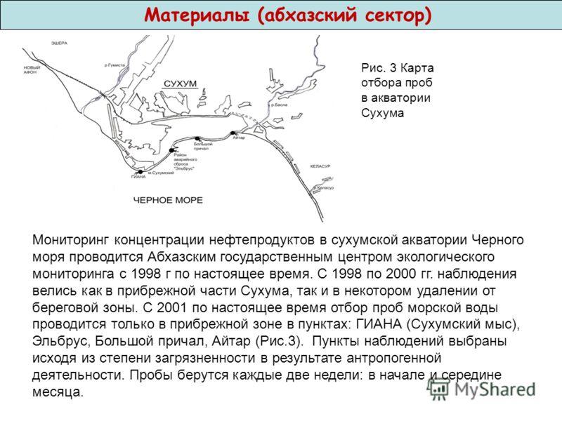 Материалы (абхазский сектор) Рис. 3 Карта отбора проб в акватории Сухума Мониторинг концентрации нефтепродуктов в сухумской акватории Черного моря проводится Абхазским государственным центром экологического мониторинга с 1998 г по настоящее время. С
