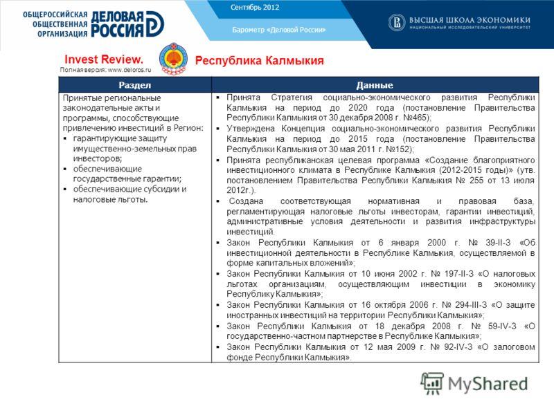 Ноябрь 2011 Барометр «Деловой России» РазделДанные Принятые региональные законодательные акты и программы, способствующие привлечению инвестиций в Регион: гарантирующие защиту имущественно-земельных прав инвесторов; обеспечивающие государственные гар