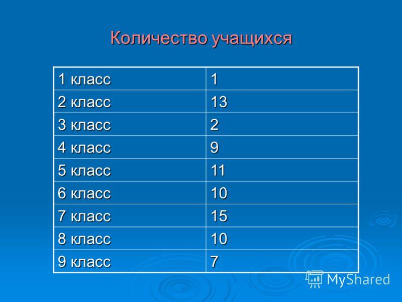 Количество учащихся 1 класс 1 2 класс 13131313 3 класс 2 4 класс 9 5 класс 11111111 6 класс 10101010 7 класс 15151515 8 класс 10 9 класс 7