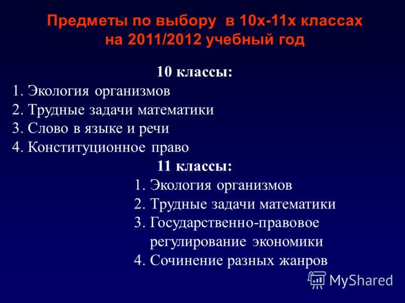 10 классы: 1. Экология организмов 2. Трудные задачи математики 3. Слово в языке и речи 4. Конституционное право 11 классы: 1. Экология организмов 2. Трудные задачи математики 3. Государственно-правовое регулирование экономики 4. Сочинение разных жанр