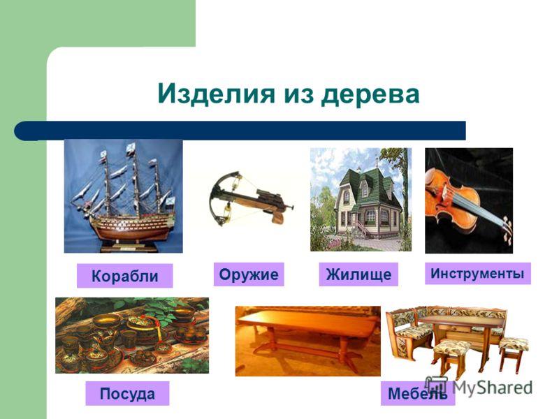 Изделия из дерева Корабли Мебель Жилище Инструменты Посуда Оружие