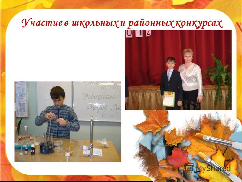 Участие в школьных и районных конкурсах