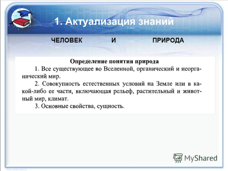 1. Актуализация знаний ЧЕЛОВЕК И ПРИРОДА