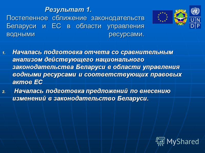 1. Началась подготовка отчета со сравнительным анализом действующего национального законодательства Беларуси в области управления водными ресурсами и соответствующих правовых актов ЕС 2. Началась подготовка предложений по внесению изменений в законод