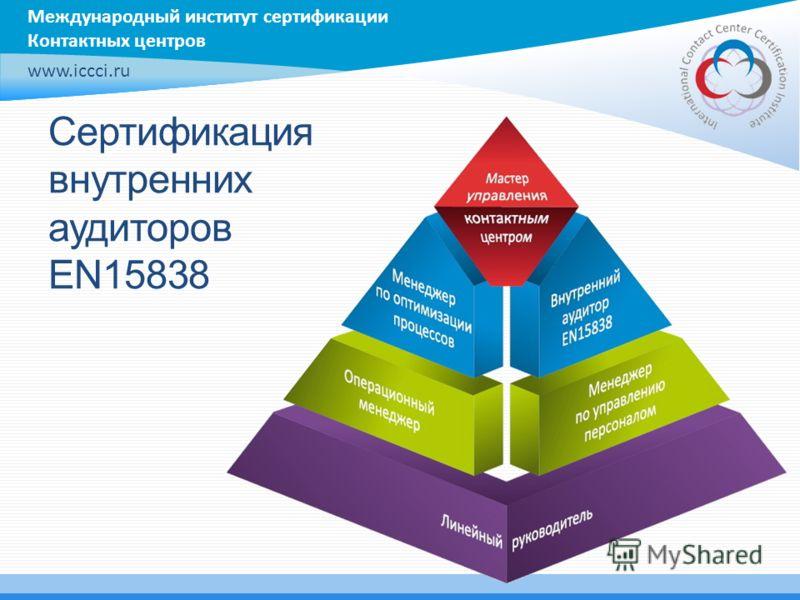 Международный институт сертификации Контактных центров www.iccci.ru Сертификация внутренних аудиторов EN15838