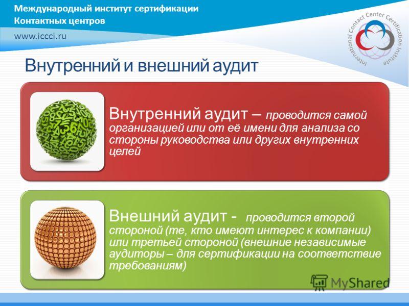 Международный институт сертификации Контактных центров www.iccci.ru Внутренний и внешний аудит Внутренний аудит – проводится самой организацией или от её имени для анализа со стороны руководства или других внутренних целей Внешний аудит - проводится