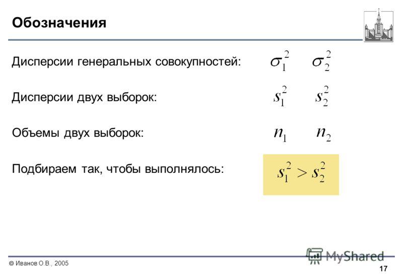 17 Иванов О.В., 2005 Обозначения Дисперсии генеральных совокупностей: Дисперсии двух выборок: Объемы двух выборок: Подбираем так, чтобы выполнялось: