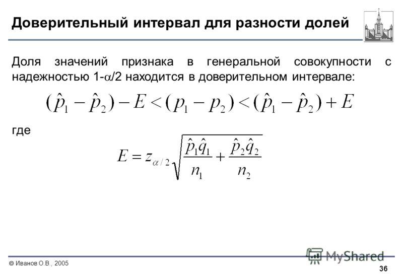 36 Иванов О.В., 2005 Доверительный интервал для разности долей Доля значений признака в генеральной совокупности с надежностью 1- /2 находится в доверительном интервале: где