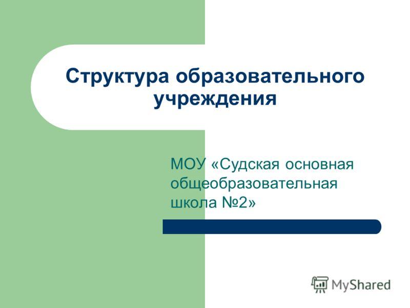 Структура образовательного учреждения МОУ «Судская основная общеобразовательная школа 2»