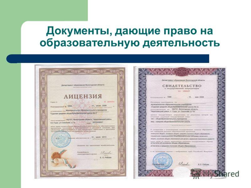 Документы, дающие право на образовательную деятельность