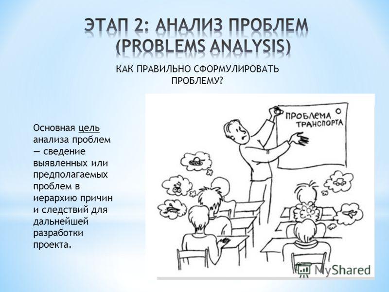 КАК ПРАВИЛЬНО СФОРМУЛИРОВАТЬ ПРОБЛЕМУ? Основная цель анализа проблем сведение выявленных или предполагаемых проблем в иерархию причин и следствий для дальнейшей разработки проекта.