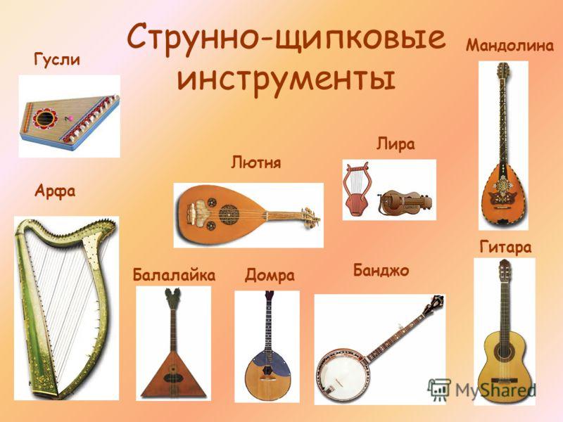 Струнно-щипковые инструменты Арфа Лютня Банджо Мандолина Лира Балалайка Домра Гусли Гитара