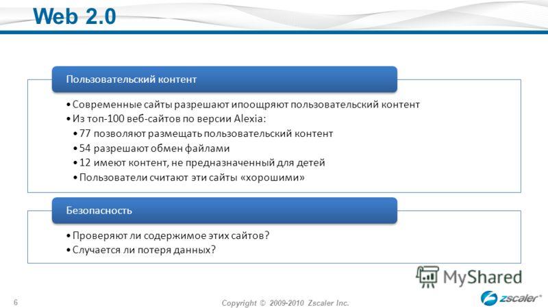 Copyright © 2009-2010 Zscaler Inc. 6 Web 2.0 Современные сайты разрешают ипоощряют пользовательский контент Из топ-100 веб-сайтов по версии Alexia: 77 позволяют размещать пользовательский контент 54 разрешают обмен файлами 12 имеют контент, не предна