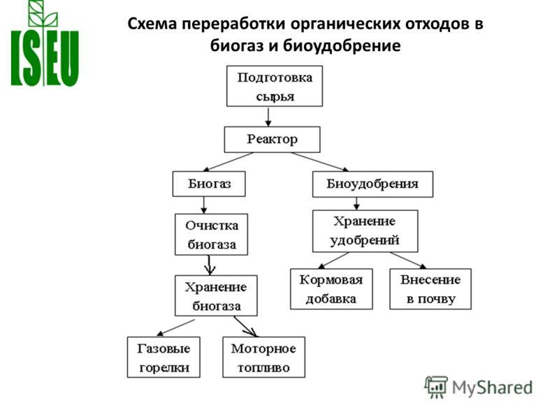 Схема переработки органических отходов в биогаз и биоудобрение