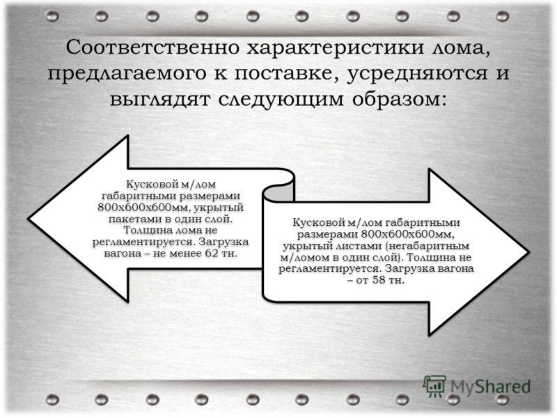 Соответственно характеристики лома, предлагаемого к поставке, усредняются и выглядят следующим образом: Кусковой м/лом габаритными размерами 800х600х600мм, укрытый пакетами в один слой. Толщина лома не регламентируется. Загрузка вагона – не менее 62