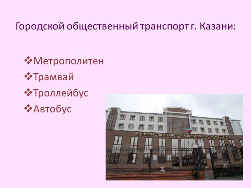 Городской общественный транспорт г. Казани: Метрополитен Трамвай Троллейбус Автобус