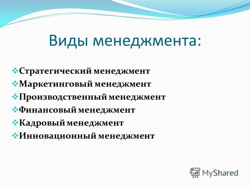 Виды менеджмента: Стратегический менеджмент Маркетинговый менеджмент Производственный менеджмент Финансовый менеджмент Кадровый менеджмент Инновационный менеджмент