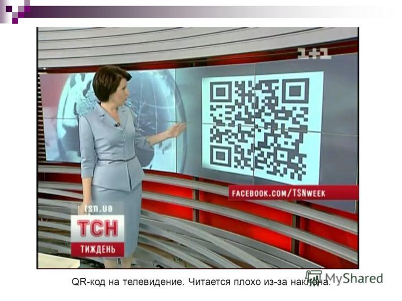 QR-код на телевидение. Читается плохо из-за наклона.