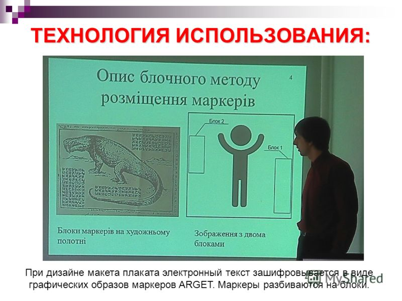 ТЕХНОЛОГИЯ ИСПОЛЬЗОВАНИЯ: При дизайне макета плаката электронный текст зашифровывается в виде графических образов маркеров ARGET. Маркеры разбиваются на блоки.