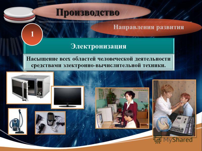 LOGO Производство Направления развития Электронизация Насыщение всех областей человеческой деятельности средствами электронно- вычислительной техники. 1
