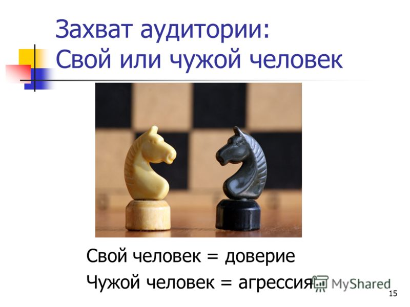 15 Захват аудитории: Свой или чужой человек Свой человек = доверие Чужой человек = агрессия