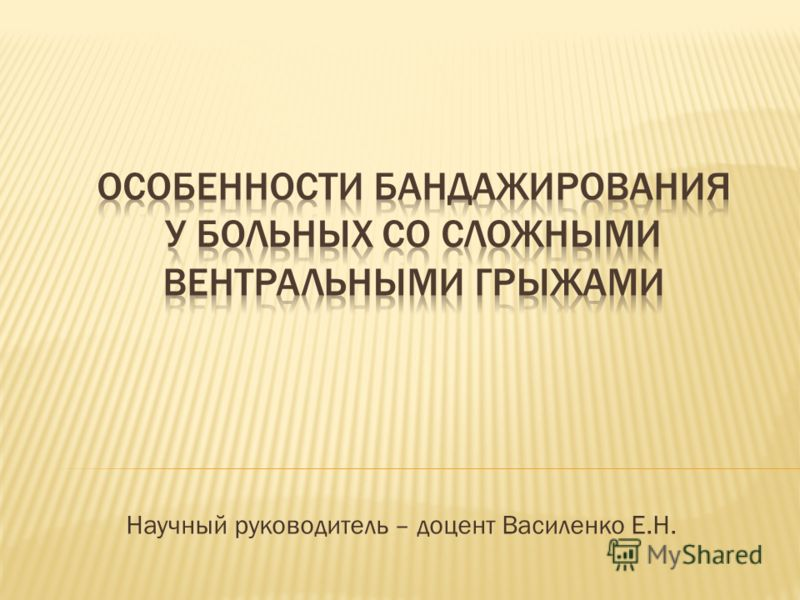 Научный руководитель – доцент Василенко Е.Н.