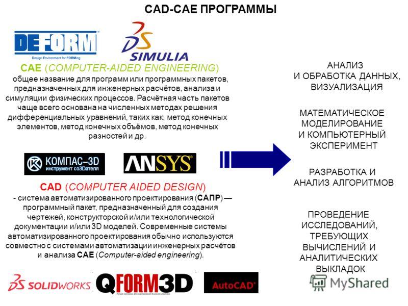 CAE (COMPUTER-AIDED ENGINEERING) общее название для программ или программных пакетов, предназначенных для инженерных расчётов, анализа и симуляции физических процессов. Расчётная часть пакетов чаще всего основана на численных методах решения дифферен