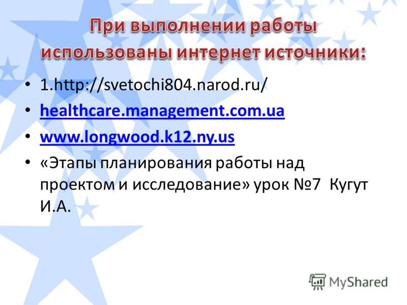 1.http://svetochi804.narod.ru/ healthcare.management.com.ua www.longwood.k12.ny.us «Этапы планирования работы над проектом и исследование» урок 7 Кугут И.А.