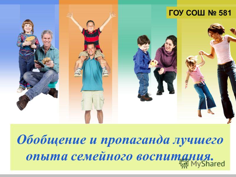 L/O/G/O Обобщение и пропаганда лучшего опыта семейного воспитания. ГОУ СОШ 581