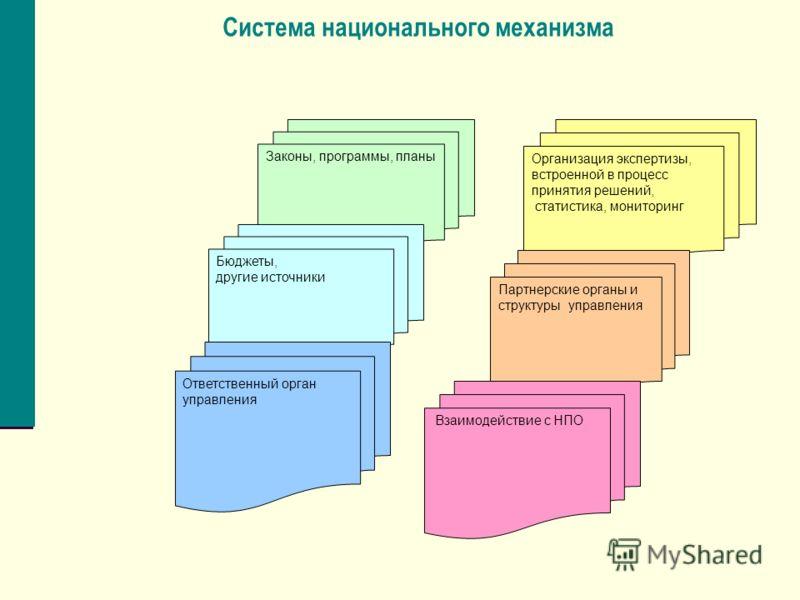 Система национального механизма Законы, программы, планы Бюджеты, другие источники Организация экспертизы, встроенной в процесс принятия решений, статистика, мониторинг Партнерские органы и структуры управления Взаимодействие с НПО Ответственный орга