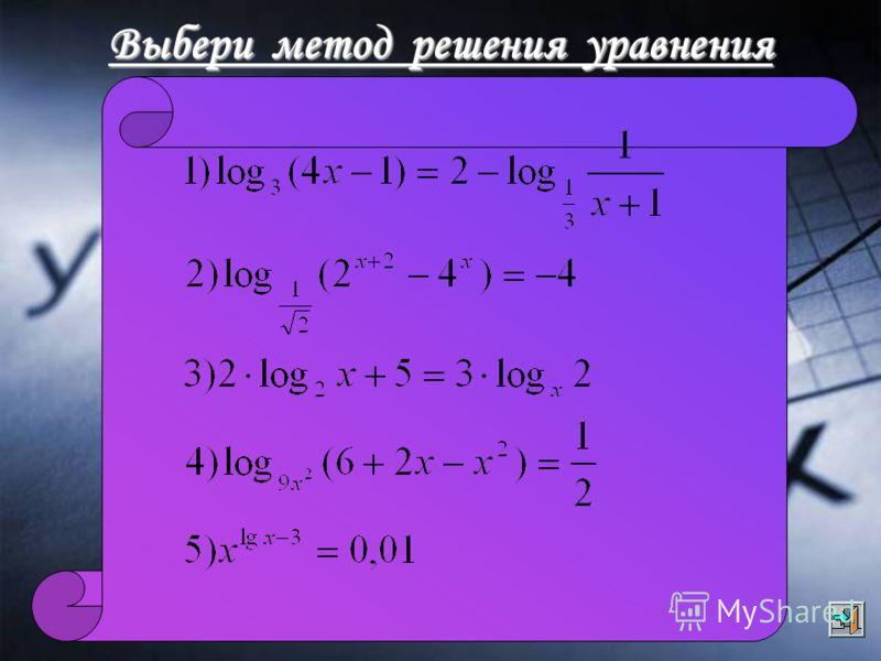 Выбери метод решения уравнения