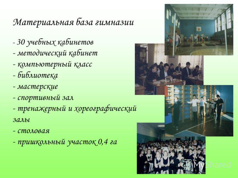 Материальная база гимназии - 30 учебных кабинетов - методический кабинет - компьютерный класс - библиотека - мастерские - спортивный зал - тренажерный и хореографический залы - столовая - пришкольный участок 0,4 га
