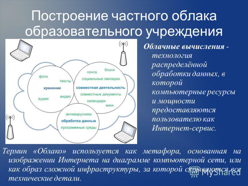 Построение частного облака образовательного учреждения Облачные вычисления - технология распределённой обработки данных, в которой компьютерные ресурсы и мощности предоставляются пользователю как Интернет-сервис. Термин «Облако» используется как мета