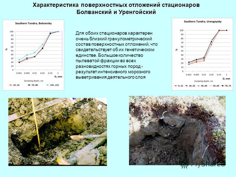 Характеристика поверхностных отложений стационаров Болванский и Уренгойский Для обоих стационаров характерен очень близкий гранулометрический состав поверхностных отложений, что свидетельствует об их генетическом единстве. Большое количество пылевато