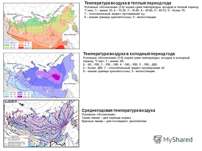 Температура воздуха в теплый период года Условные обозначения: (1-6) норма сумм температуры воздуха в теплый период, °C·мес: 1 – менее 15; 2 – 15-30; 3 – 30-45; 4 – 45-60; 5 – 60-75; 6 – более 75; 7 – относительный индекс протаивания n th ; 8 – южная