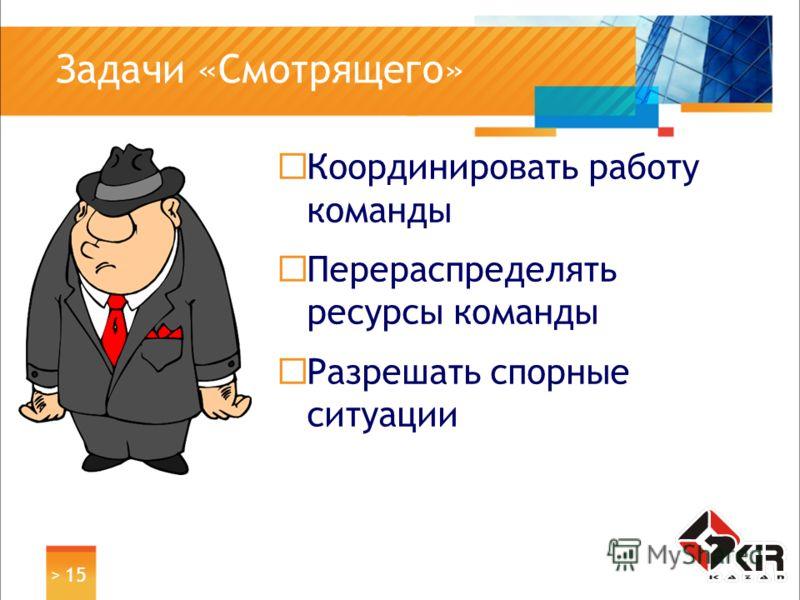 > 15 Задачи «Смотрящего» Координировать работу команды Перераспределять ресурсы команды Разрешать спорные ситуации