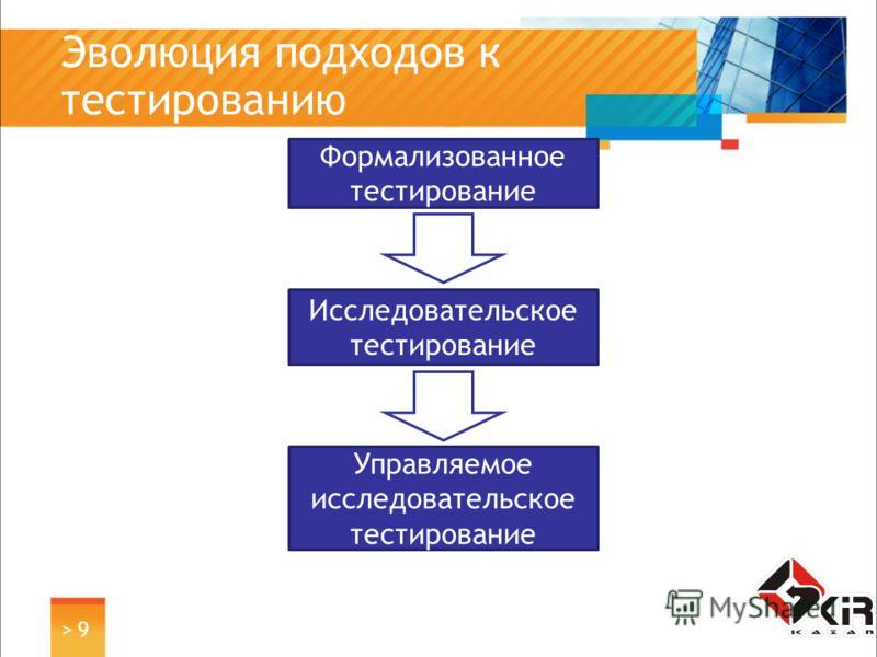> 9> 9 Эволюция подходов к тестированию Формализованное тестирование Исследовательское тестирование Управляемое исследовательское тестирование