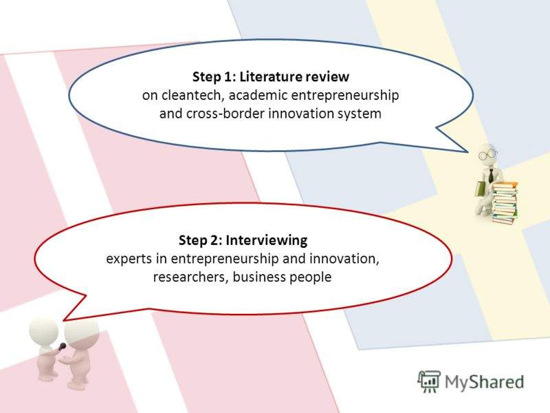 Step 1: Literature review on cleantech, academic entrepreneurship and cross-border innovation system Step 2: Interviewing experts in entrepreneurship and innovation, researchers, business people