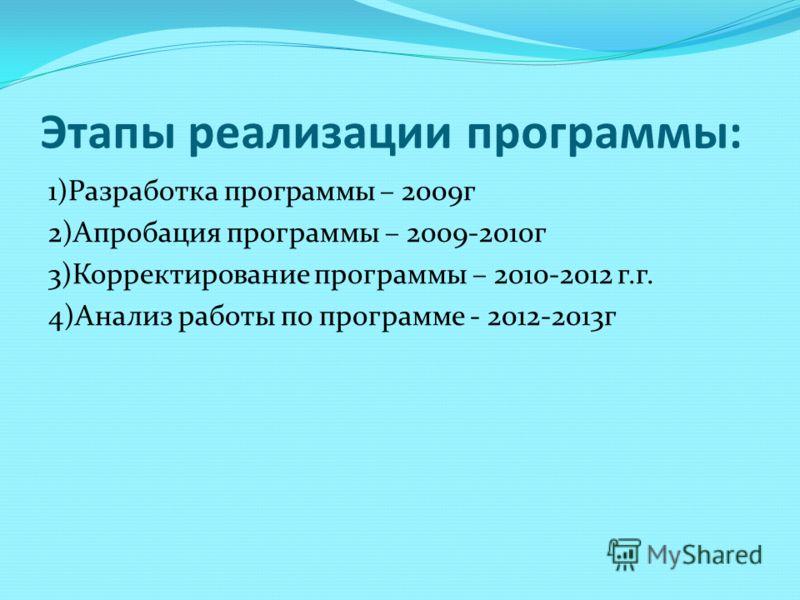 Этапы реализации программы: 1)Разработка программы – 2009г 2)Апробация программы – 2009-2010г 3)Корректирование программы – 2010-2012 г.г. 4)Анализ работы по программе - 2012-2013г
