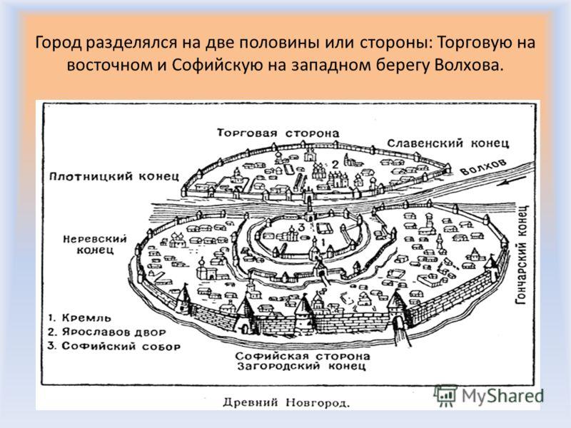 Город разделялся на две половины или стороны: Торговую на восточном и Софийскую на западном берегу Волхова.