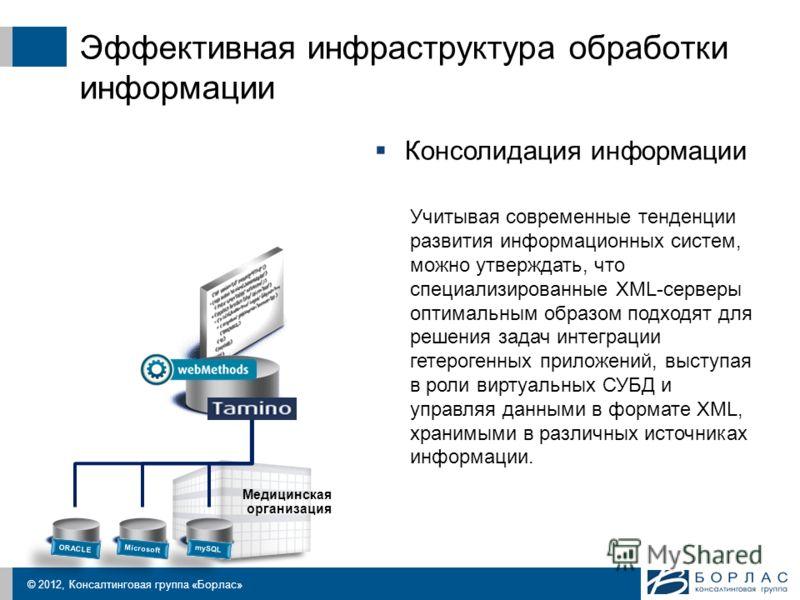 © 2012, Консалтинговая группа «Борлас» Эффективная инфраструктура обработки информации Медицинская организация ORACLE Microsoft mySQL Консолидация информации Учитывая современные тенденции развития информационных систем, можно утверждать, что специал