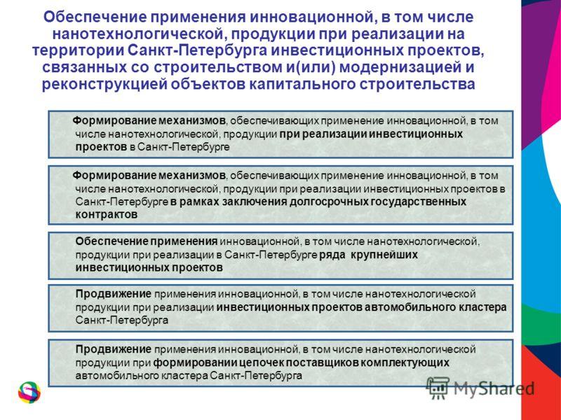 Обеспечение применения инновационной, в том числе нанотехнологической, продукции при реализации на территории Санкт-Петербурга инвестиционных проектов, связанных со строительством и(или) модернизацией и реконструкцией объектов капитального строительс