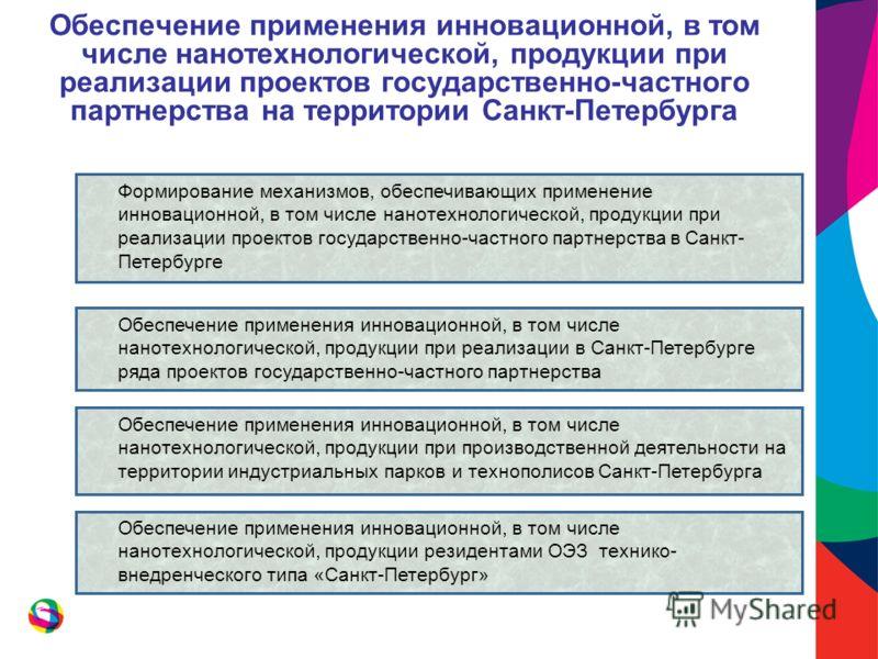 Обеспечение применения инновационной, в том числе нанотехнологической, продукции при реализации проектов государственно-частного партнерства на территории Санкт-Петербурга Формирование механизмов, обеспечивающих применение инновационной, в том числе